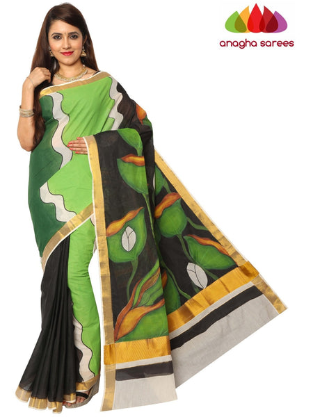 Hand Painted Rich Cotton Saree -  Multicolor : ANA_E97