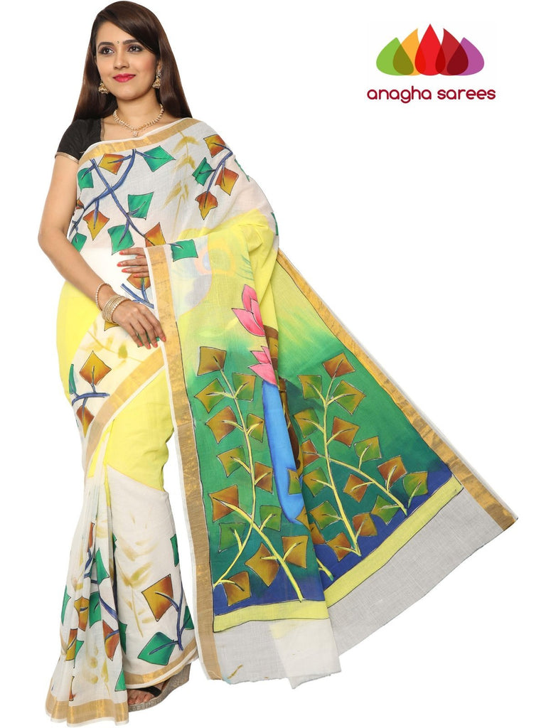 Anagha Sarees Pure Cotton Hand Painted Rich Cotton Saree -  Multicolor : ANA_E98