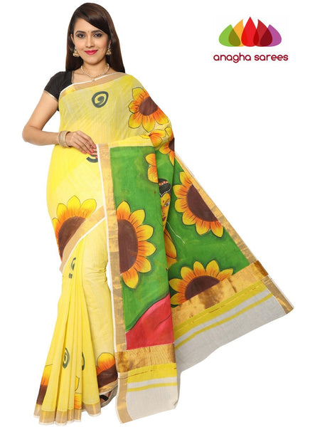 Hand Painted Rich Cotton Saree -  Multicolor : ANA_E99