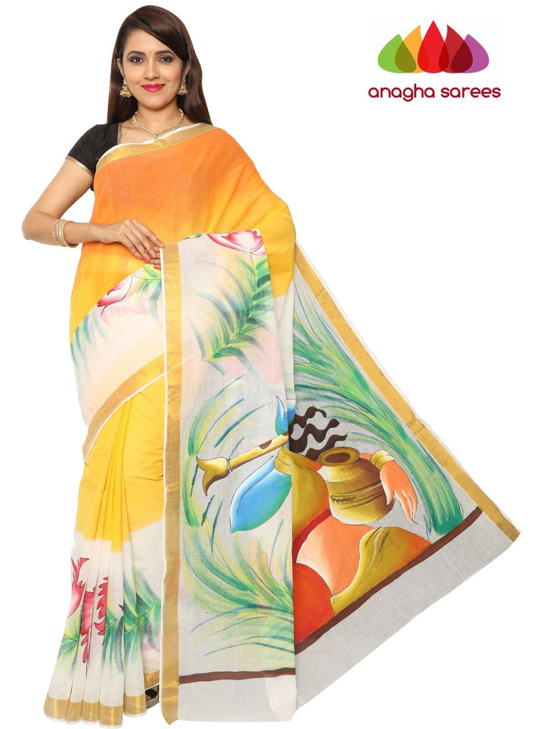Anagha Sarees Pure Cotton Hand Painted Rich Cotton Saree -  Multicolor : ANA_F02