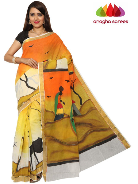 Anagha Sarees Pure Cotton Hand Painted Rich Cotton Saree - Multicolor : ANA_F06