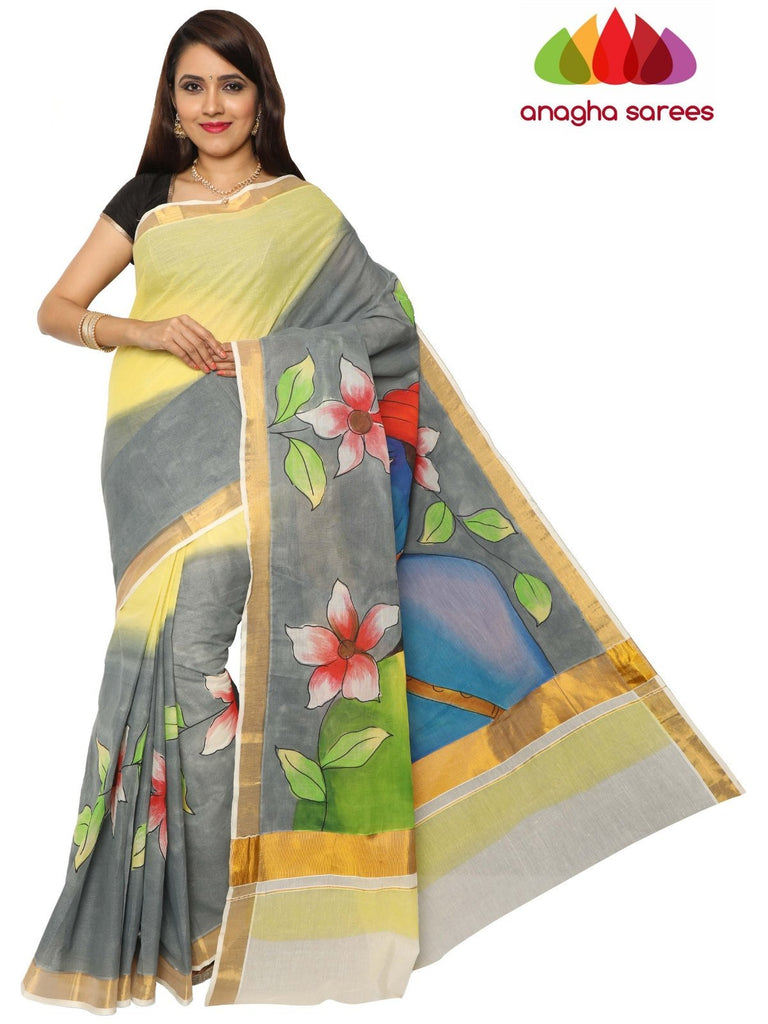 Anagha Sarees Pure Cotton Hand Painted Rich Cotton Saree - Multicolor : ANA_F08