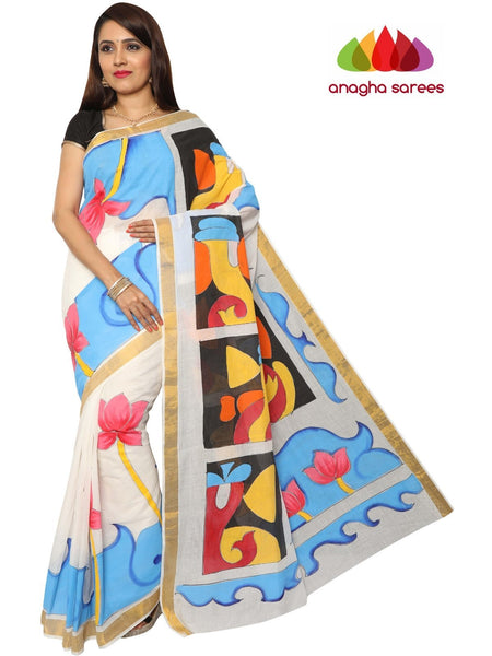 Anagha Sarees Pure Cotton Hand Painted Rich Cotton Saree - Multicolor : ANA_F09