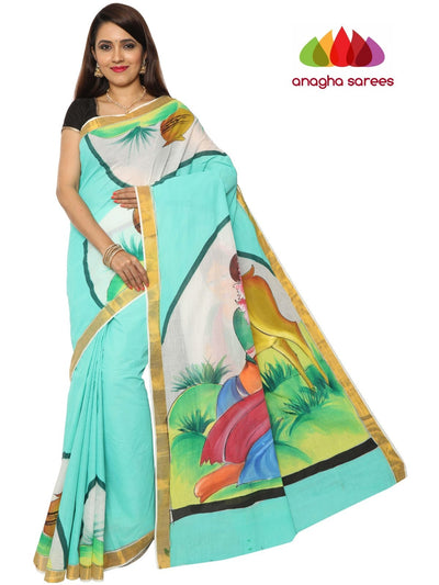 Hand Painted Rich Cotton Saree - Multicolor : ANA_F12 - Anagha Sarees