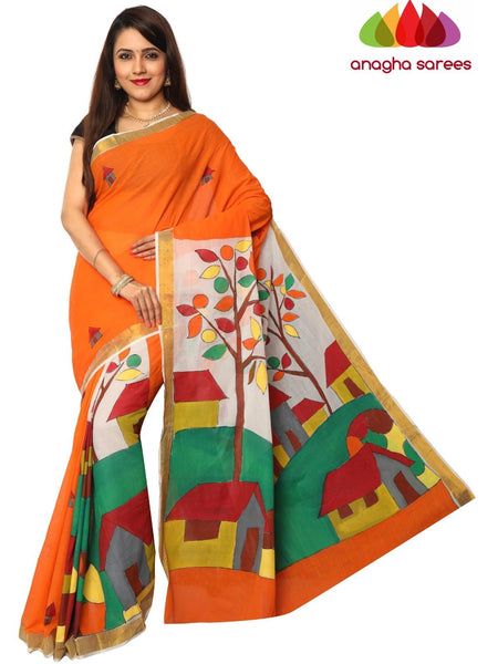 Anagha Sarees Pure Cotton Hand Painted Rich Cotton Saree - Multicolor : ANA_F13