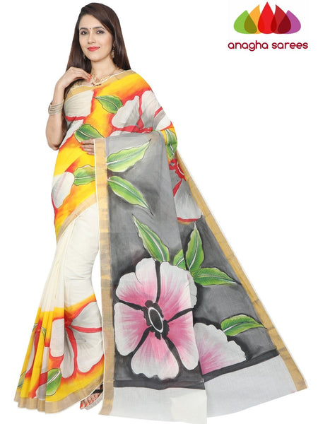 Hand Painted Rich Cotton Saree -  Multicolor : ANA_F95
