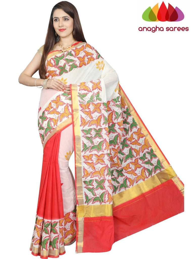 Hand Painted Rich Cotton Saree -  Multicolor : ANA_F97