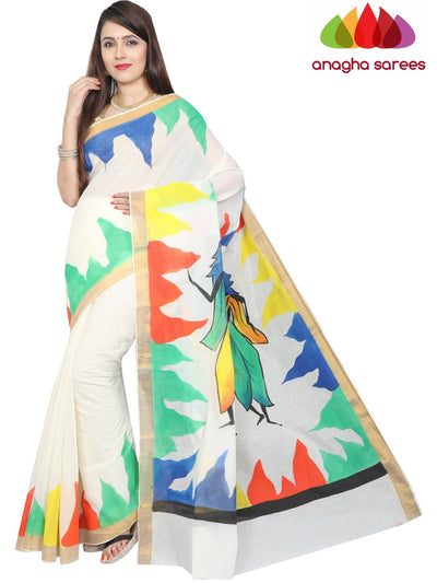 Hand Painted Rich Cotton Saree -  Multicolor : ANA_F98 - Anagha Sarees