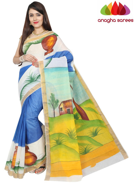 Anagha Sarees Pure Cotton Hand Painted Rich Cotton Saree -  Multicolor : ANA_F99