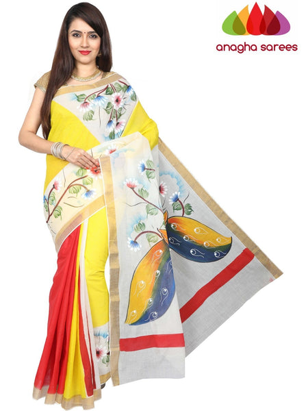Hand Painted Rich Cotton Saree -  Multicolor : ANA_G02
