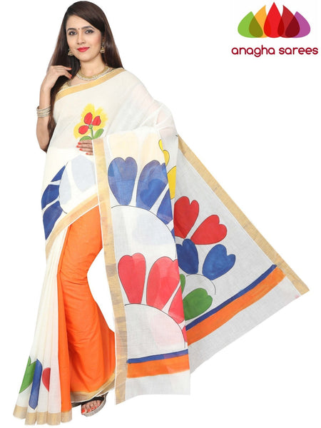 Hand Painted Rich Cotton Saree -  Multicolor : ANA_G04