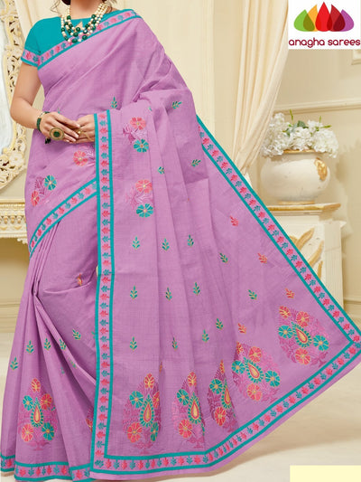 Rich Cotton Embroidery Saree - Lavender : ANA_H60 - Anagha Sarees