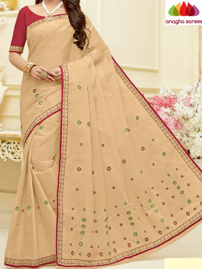 Rich Cotton Embroidery Saree - Light Beige : ANA_H61 - Anagha Sarees