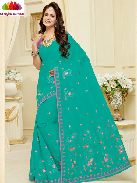 Anagha Sarees Pure Cotton Length=6.2 m with blouse / Pista Green Rich Cotton Embroidery Saree - Pista Green : ANA_H59
