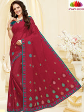 Anagha Sarees Pure Cotton Length=6.2 m with blouse / Red Rich Cotton Embroidery Saree - Red : ANA_H63