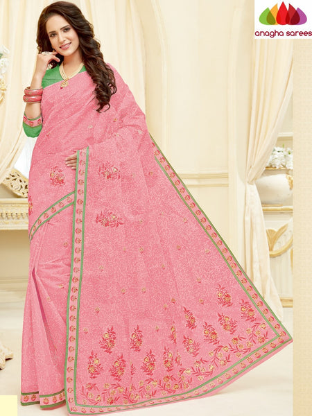 Anagha Sarees Pure Cotton Length=6.2 m with blouse / Rose Pink Rich Cotton Embroidery Saree - Rose Pink : ANA_H69