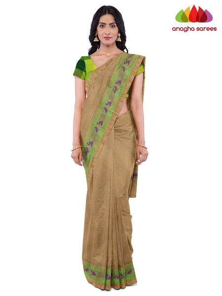 Anagha Sarees Pure Cotton Length=6.2 metres  Width=46 inches / Beige Handloom Chettinad Cotton Saree - Beige : ANA_K03