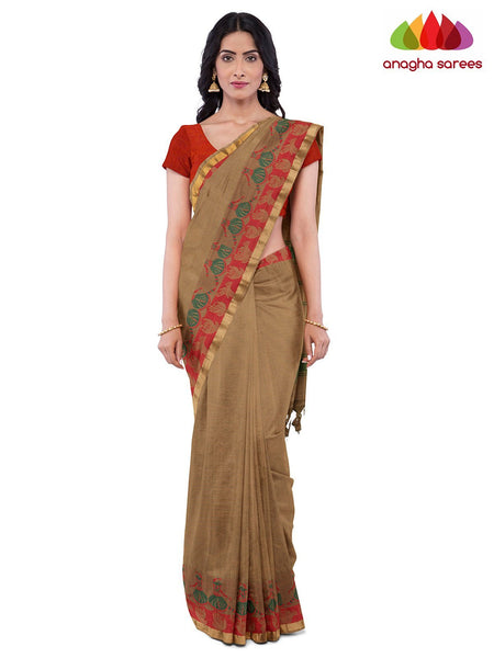 Anagha Sarees Pure Cotton Length=6.2 metres  Width=46 inches / Beige Handloom Chettinad Cotton Saree - Beige : ANA_K04