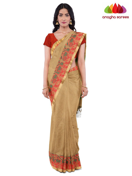 Anagha Sarees Pure Cotton Length=6.2 metres  Width=46 inches / Beige Handloom Chettinad Cotton Saree - Beige : ANA_K12