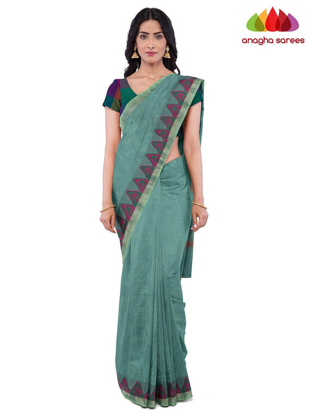 Anagha Sarees Pure Cotton Length=6.2 metres  Width=46 inches / Bluish Green Handloom Chettinad Cotton Saree - Bluish Green : ANA_J97