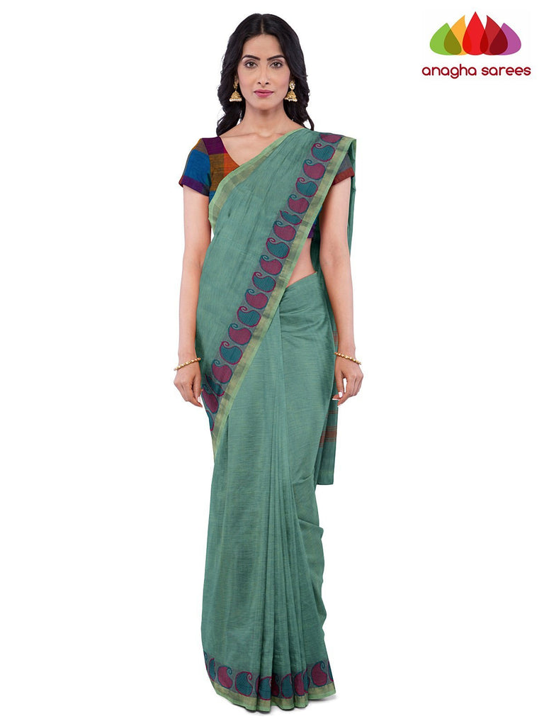Anagha Sarees Pure Cotton Length=6.2 metres  Width=46 inches / Bluish Green Handloom Chettinad Cotton Saree - Bluish Green : ANA_J98