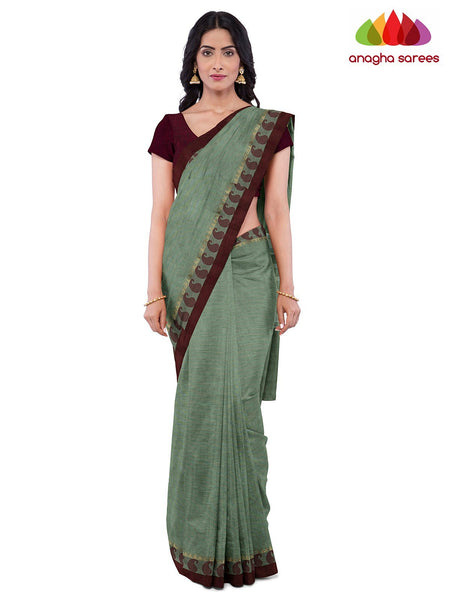 Anagha Sarees Pure Cotton Length=6.2 metres  Width=46 inches / Cardamom Green Handloom Chettinad Cotton Saree - Cardamom Green : ANA_K11