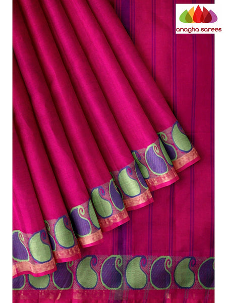Anagha Sarees Pure Cotton Length=6.2 metres  Width=46 inches / Dark Pink Handloom Chettinad Cotton Saree - Dark Pink : ANA_K07