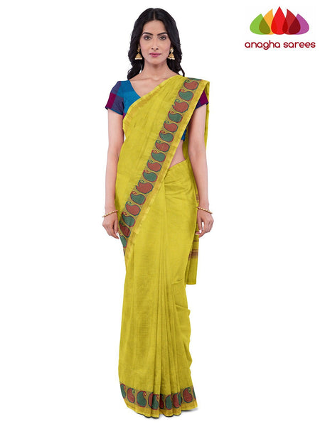 Anagha Sarees Pure Cotton Length=6.2 metres  Width=46 inches / Dark Pink Handloom Chettinad Cotton Saree - Lemon Yellow : ANA_K08