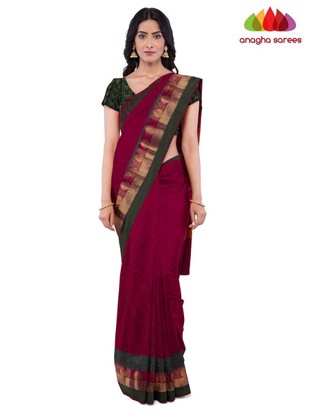 Anagha Sarees Pure Cotton Length=6.2 metres  Width=46 inches / Light Beige Handloom Chettinad Cotton Saree - Red : ANA_K14