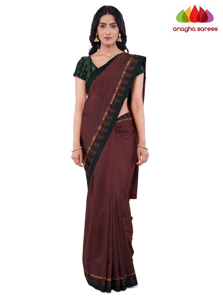 Anagha Sarees Pure Cotton Length=6.2 metres  Width=46 inches / Mulberry Brown Handloom Chettinad Cotton Saree - Mulberry Brown : ANA_K05