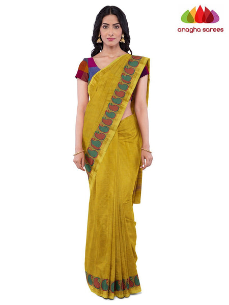 Anagha Sarees Pure Cotton Length=6.2 metres  Width=46 inches / Mustard Handloom Chettinad Cotton Saree - Mustard : ANA_K09