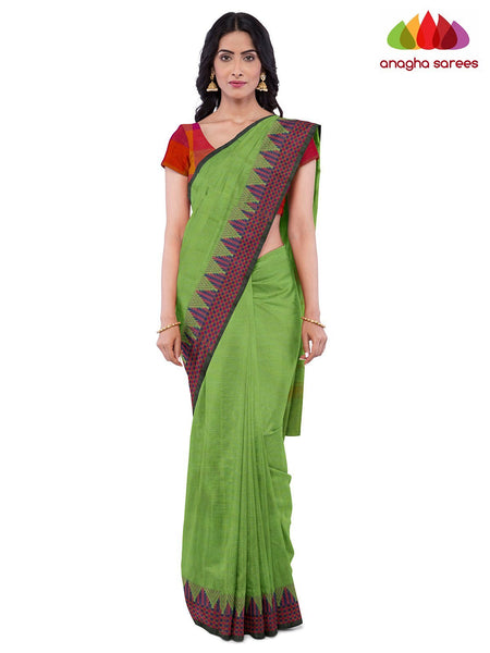 Anagha Sarees Pure Cotton Length=6.2 metres  Width=46 inches / Parrot Green Handloom Chettinad Cotton Saree - Parrot Green : ANA_J95