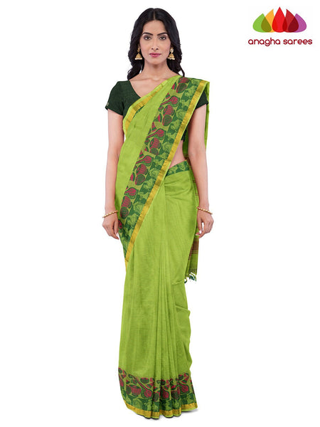 Anagha Sarees Pure Cotton Length=6.2 metres  Width=46 inches / Parrot Green Handloom Chettinad Cotton Saree - Parrot Green : ANA_K02