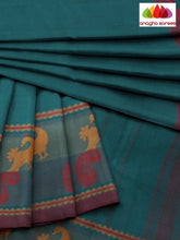 Anagha Sarees Pure Cotton Length=6.2 metres  Width=46 inches / Peacock Green Handloom Chettinad Cotton Saree - Peacock Green : ANA_K01