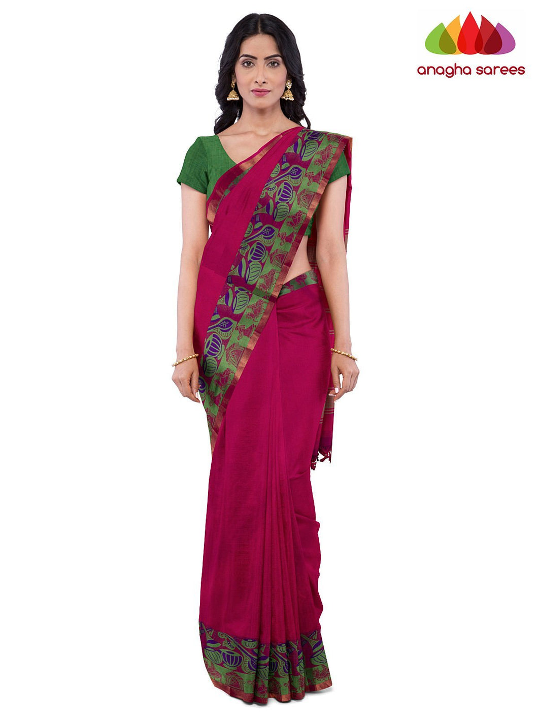 Anagha Sarees Pure Cotton Length=6.2 metres  Width=46 inches / Pink Handloom Chettinad Cotton Saree - Pink : ANA_K13
