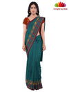 Handloom Chettinad Cotton Saree - Peacock Green : ANA_K01 - Anagha Sarees