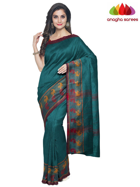 Anagha Sarees Pure Cotton Length=6.2 metres  Width=46 inches / Rasberry Pink Handloom Chettinad Cotton Saree - Peacock Green : ANA_K01