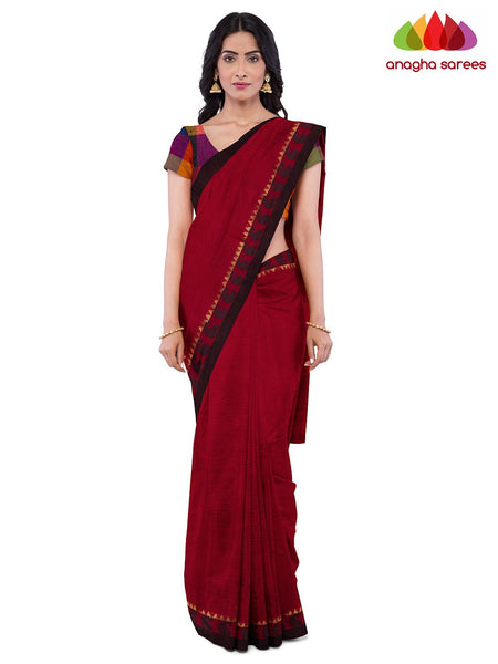 Anagha Sarees Pure Cotton Length=6.2 metres  Width=46 inches / Red Handloom Chettinad Cotton Saree - Red : ANA_K06