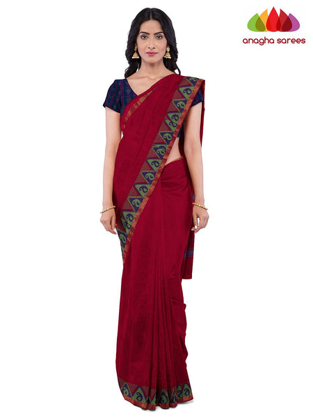 Anagha Sarees Pure Cotton Length=6.2 metres  Width=46 inches / Red Handloom Chettinad Cotton Saree - Red : ANA_K15