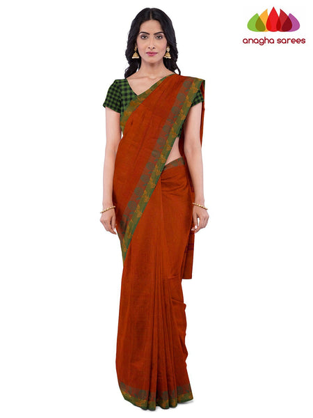 Anagha Sarees Pure Cotton Length=6.2 metres  Width=46 inches / Rust Handloom Chettinad Cotton Saree - Rust : ANA_J93
