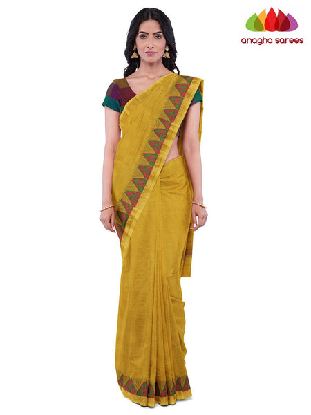 Anagha Sarees Pure Cotton Length=6.2 metres  Width=46 inches / Yellow Handloom Chettinad Cotton Saree - Yellow : ANA_J96