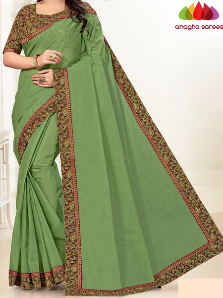 Anagha Sarees Pure Cotton Length=6.2metres Width=44inches / Dark Olive Green Fancy Cotton Saree - Dark Olive Green : ANA_H02