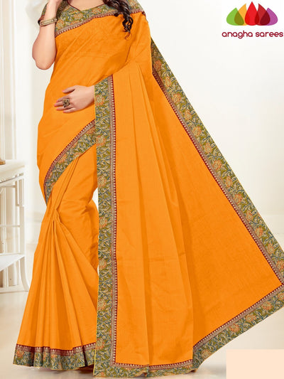 Fancy Cotton Saree - Mango Yellow : ANA_H06 - Anagha Sarees