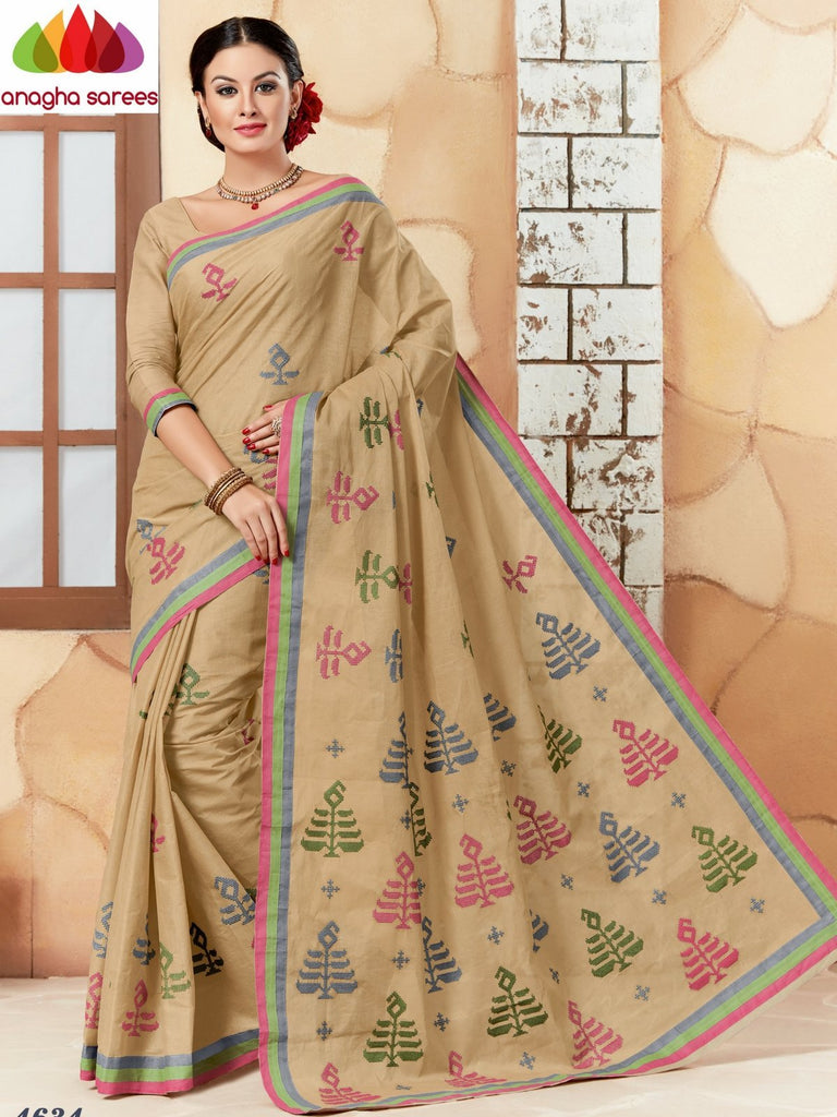 Rich Cotton Embroidery Saree - Beige  ANA_626 Anagha Sarees