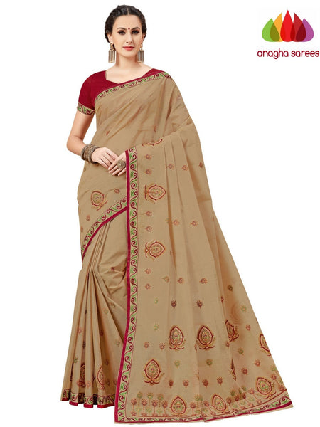 Anagha Sarees Pure Cotton Rich Cotton Embroidery Saree - Beige  ANA_A82