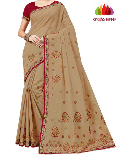Rich Cotton Embroidery Saree - Beige  ANA_A82 - Anagha Sarees