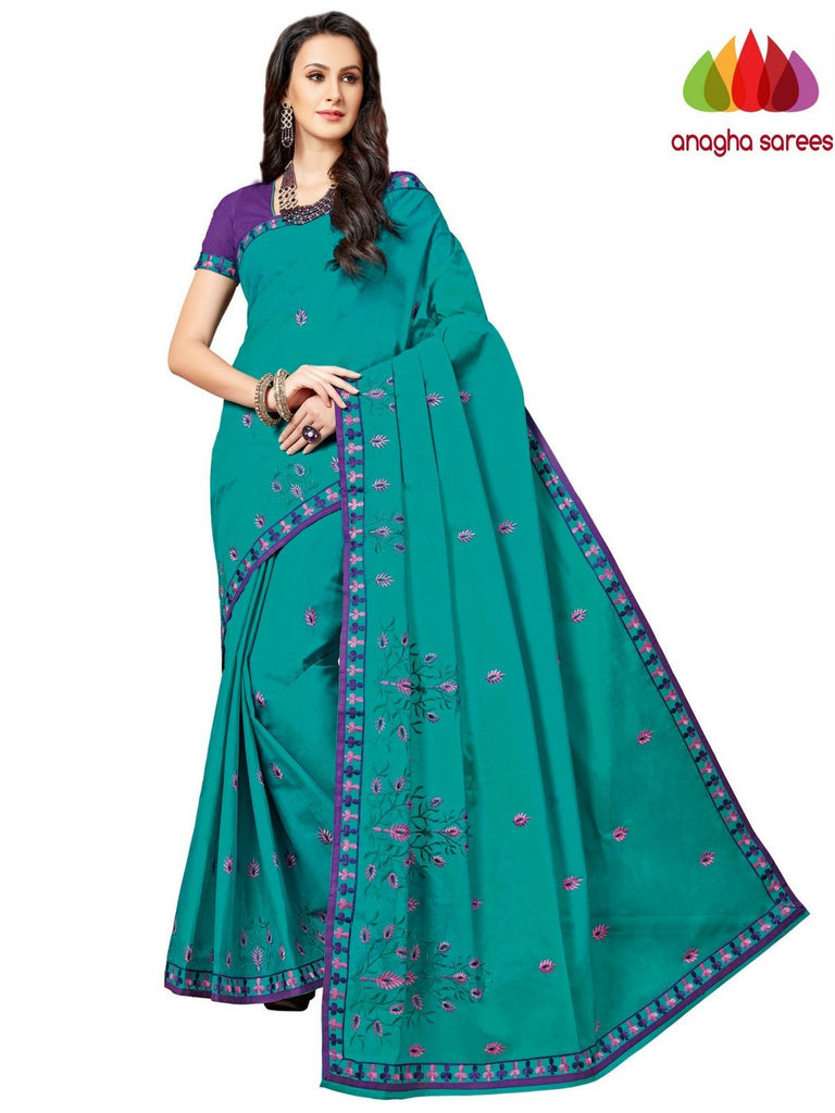 Rich Cotton Embroidery Saree - Bluish Green ANA_A91 Anagha Sarees