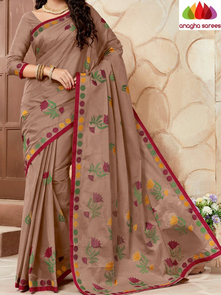 Rich Cotton Embroidery Saree - Brown  ANA_627