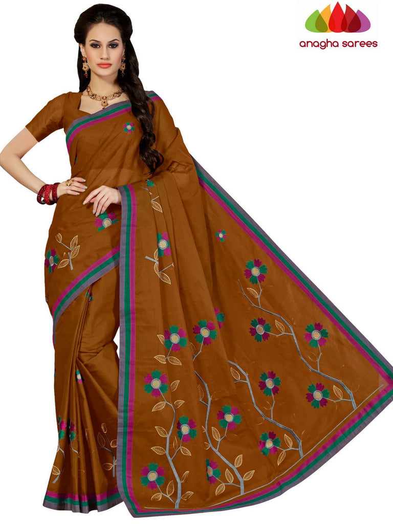 Anagha Sarees Pure Cotton Rich Cotton Embroidery Saree - Brown : ANA_D21