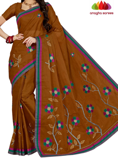 Rich Cotton Embroidery Saree - Brown : ANA_D21 - Anagha Sarees